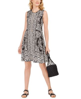 Sleeveless Printed Swing Dress, Created for Macy's