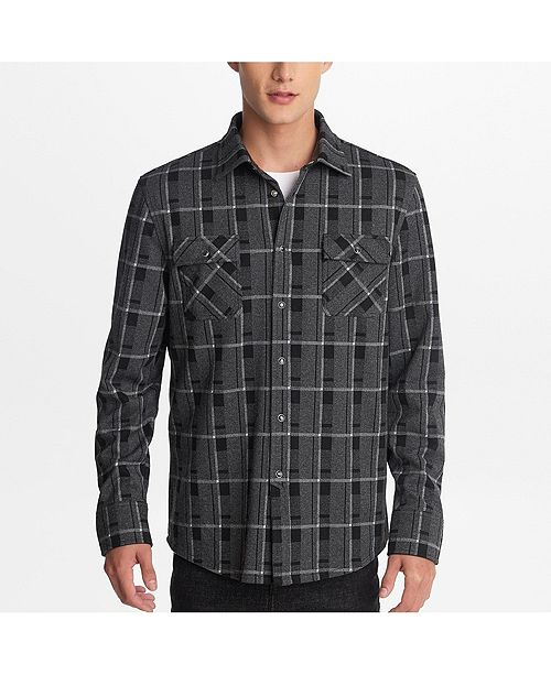 Karl Lagerfeld Paris Men's Window Pane Plaid Shirt With Snap Buttons And Faux Leather Trim Detail