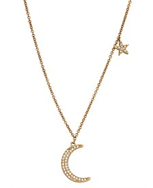 Diamond (1/10 ct. t.w.) Crescent Moon and Star Necklace in 14K Yellow Gold