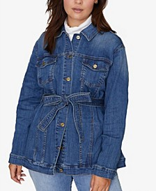 Jessa Tied Trucker Denim Jacket, Plus Size