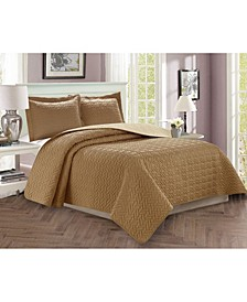 Luxury 3-Piece Bedspread Coverlet Majestic Design Quilted Set with Shams