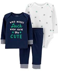 Baby Boys & Girls 3-Pc. Cotton Luck T-Shirt, Printed Bodysuit & Pants Set