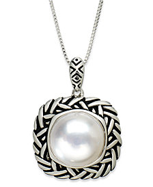 Pearl Necklace, Sterling Silver Cultured Freshwater Pearl (11-1/2mm) Pendant