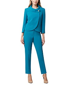 Petite Envelope Collar Jacket & Straight-Leg Crepe Pants
