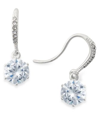 Image of Charter Club Silver-Tone Crystal Drop Earrings