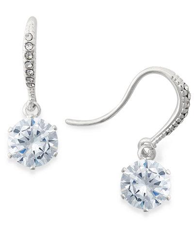 Charter Club Silver-Tone Crystal Drop Earrings