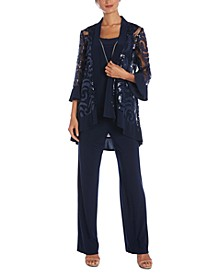 3-Pc. Sequinned Jacket, Necklace Tank Top & Pants Set