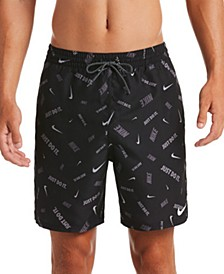 "Men's Logofetti Lap Water-Repellent Logo-Print 7"" Swim Trunks"
