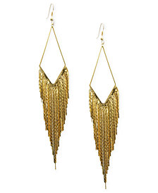 GUESS Earrings, Gold-Tone Kite Gypsy Chain Drop Earrings