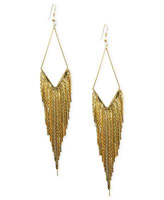 GUESS Earrings Gold Tone Kite Gypsy Chain Drop Earrings Jewelry