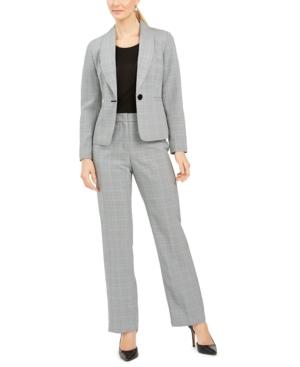 Plaid One-Button Pantsuit