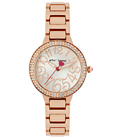 Betsey Johnson Watch, Women's Rose Gold-Tone Stainless Steel Bracelet 32mm BJ00235-02