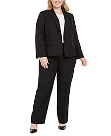 Plus Size Pinstripe One-Button Pantsuit