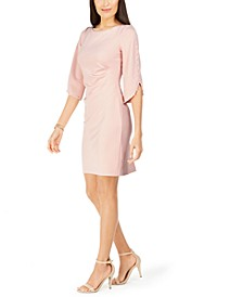 Petite Imitation Pearl-Sleeve Dress