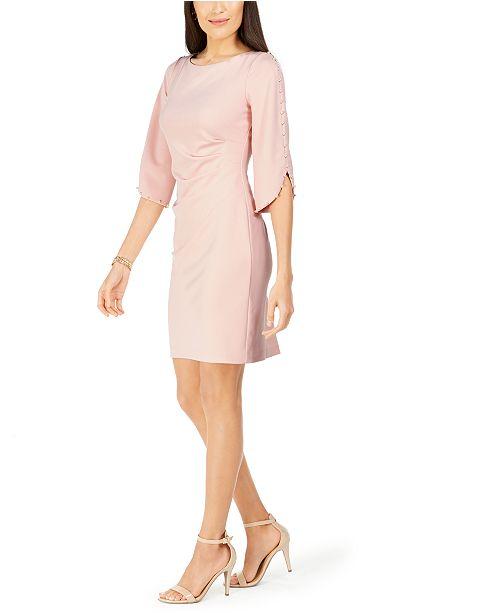 Jessica Howard Petite Imitation Pearl-Sleeve Dress