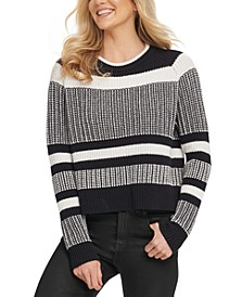 Cotton Striped Vented-Hem Sweater