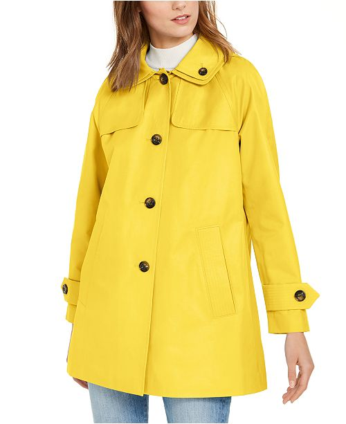 London Fog Hooded Water-Resistant Raincoat