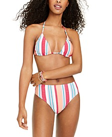Juniors' Striped Tiki Halter Triangle Bikini Top & High-Waist Bottoms