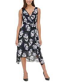 Floral-Print Chiffon Midi Dress