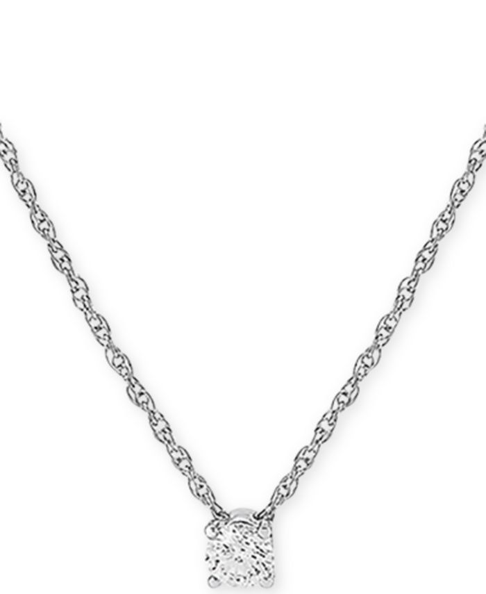 """Forever Grown Diamonds - Lab-Created Diamond Solitaire 16"""" Pendant Necklace (1/4 ct. t.w.) in Sterling Silver"""