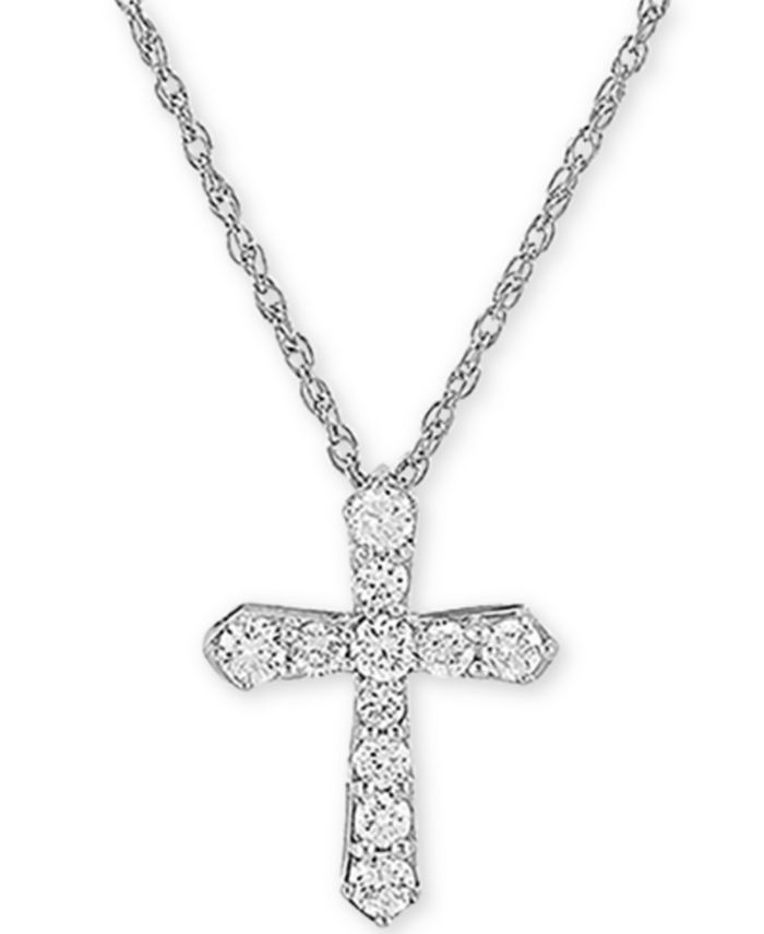 """Forever Grown Diamonds - Lab-Created Diamond Cross 18"""" Pendant Necklace (1/2 ct. t.w.) in Sterling Silver"""