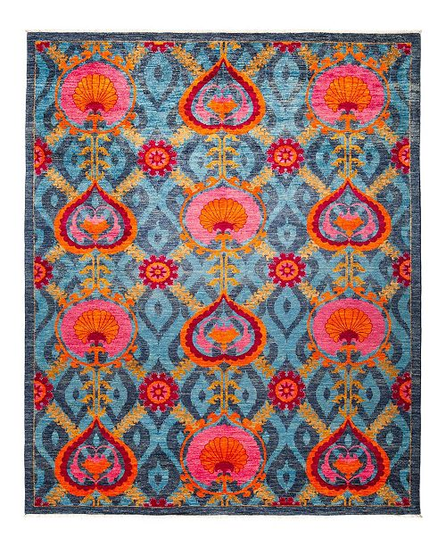 "Timeless Rug Designs CLOSEOUT! One of a Kind OOAK1274 Turquoise 8'2"" x 10'1"" Area Rug"