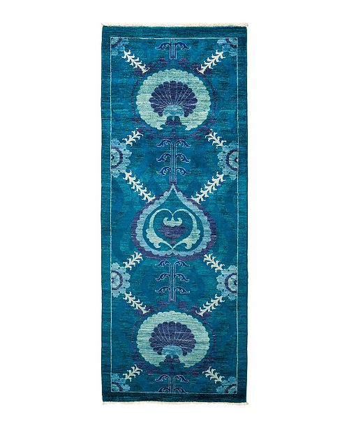 """Timeless Rug Designs CLOSEOUT! One of a Kind OOAK1335 Turquoise 3' x 8'2"""" Runner Rug"""