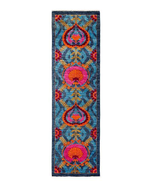 "Nourison CLOSEOUT! Timeless Rug Designs One of a Kind OOAK1663 Denim 3' x 10'7"" Runner Rug"