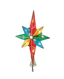 10-Light Multicolored Capiz Bethlehem Star Treetop with Gem Center