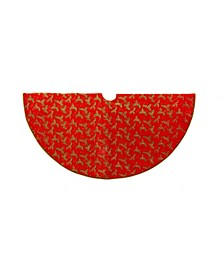 52-Inch Red with Holly Decorative Treeskirt