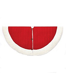 48-Inch Red and White Cable Knit Treeskirt