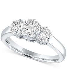 Lab-Created Diamond Triple Cluster Statement Ring (1/2 ct. t.w.) in Sterling Silver