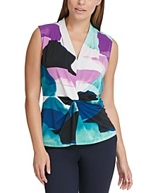 V-Neck Knotted Twist Top