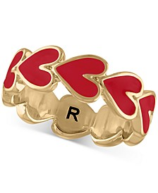 Gold-Tone & Enamel Heart Band Ring