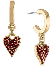 "Gold-Tone Stone Heart Huggie Small Hoop Earrings, 1"""