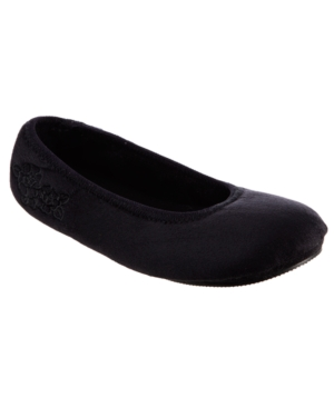 Isotoner Microsuede Embroidered Ballerina with 360 Surround Memory Foam Slipper, Online Only