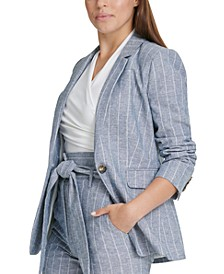 Petite Striped One-Button Blazer