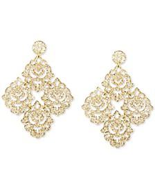 Silver-Tone Filigree Glitter Resin Chandelier Earrings