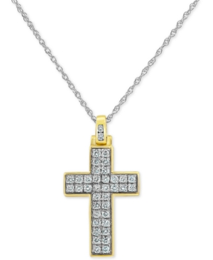 """Lab-Created Diamond Cross 18"""" Pendant Necklace (3/4 ct. t.w.) in Sterling Silver & Yellow Rhodium-Plate"""