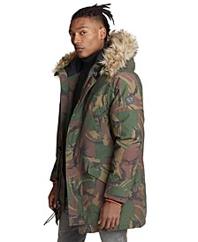 Men's Faux-Fur-Trim Camo Down Parka