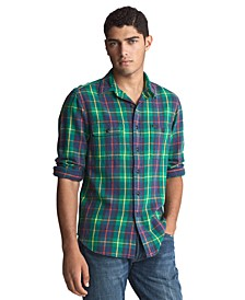 Men's Brushed Cotton Plaid Sport Shirt