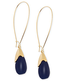 Robert Lee Morris Soho Earrings, Gold-Tone Blue Oval Bead Drop Earrings