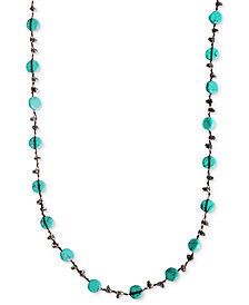 Lucky Brand Necklace, Reconstituted Turquoise Hammered Coin Necklace