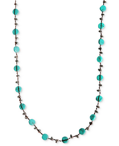 Lucky brand necklace reconstituted turquoise hammered for Macy s lucky brand jewelry