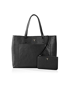 Personalized Vegan Saffiano Leather Tote And Clutch Set