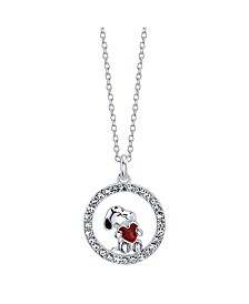 "Snoopy ""You Hold My Heart"" Fine Plated Silver Crystal Pendant Necklace, 16"" + 2"" Extender for Unwritten"