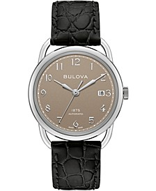 LIMITED EDITION Men's Swiss Automatic Joseph Bulova Black Leather Strap Watch 38.5mm