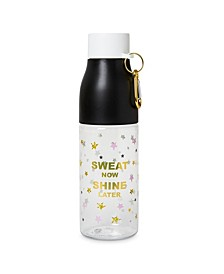 "Plastic 750ml ""Sweat Now, Shine Later"" Water Bottle with Carabiner"
