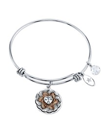 """Follow Your Heart"" Flower Bracelet in Stainless Steel & Rose Gold-Tone"