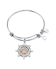 """""""Faith Makes All Things Possible""""Anchor Bangle Bracelet in Stainless Steel & Rose Gold-Tone with Silver Plated Charms"""